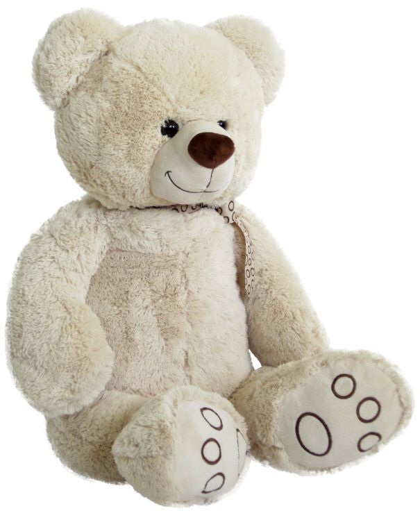 xxl teddyb r mit schleife 100 cm wei pl schb r teddy. Black Bedroom Furniture Sets. Home Design Ideas